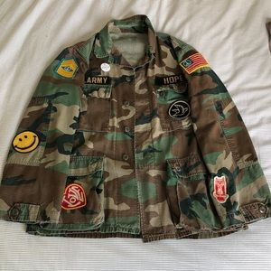 Madeworn 'Make Love Not War' Army Shirt Jacket
